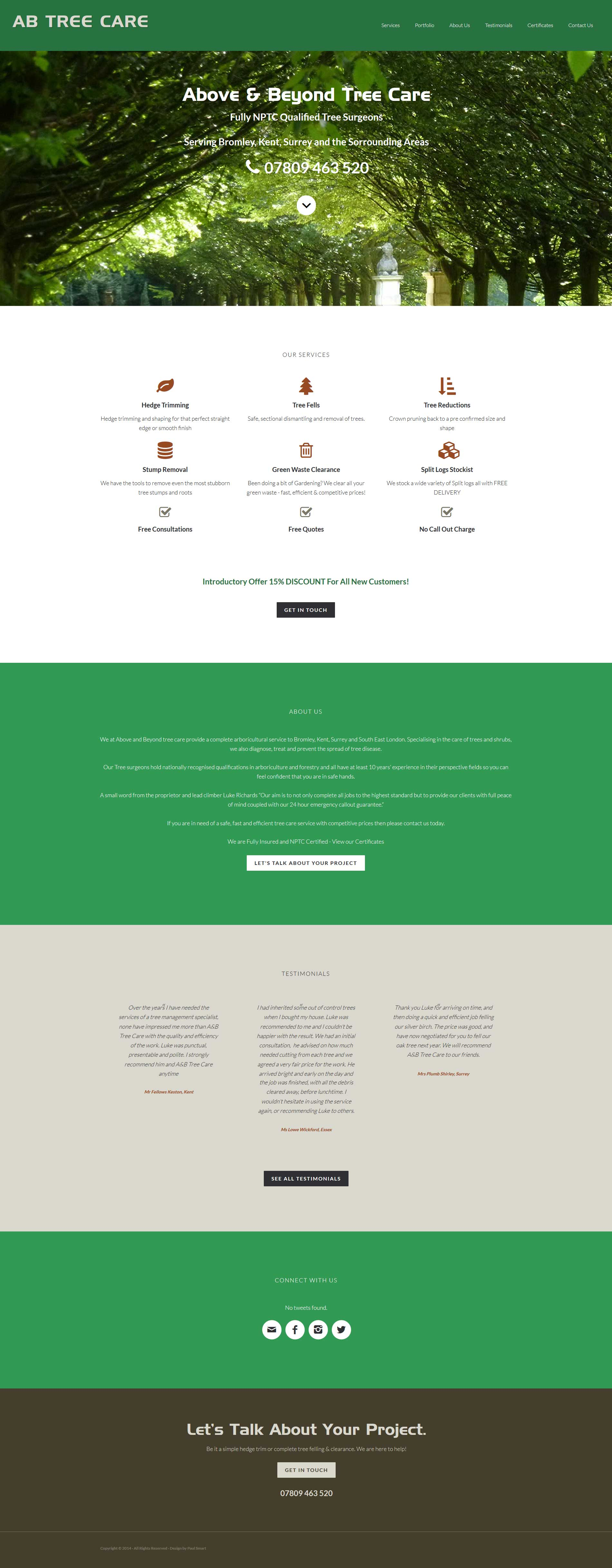 Portfolio AB Tree Care Homepage