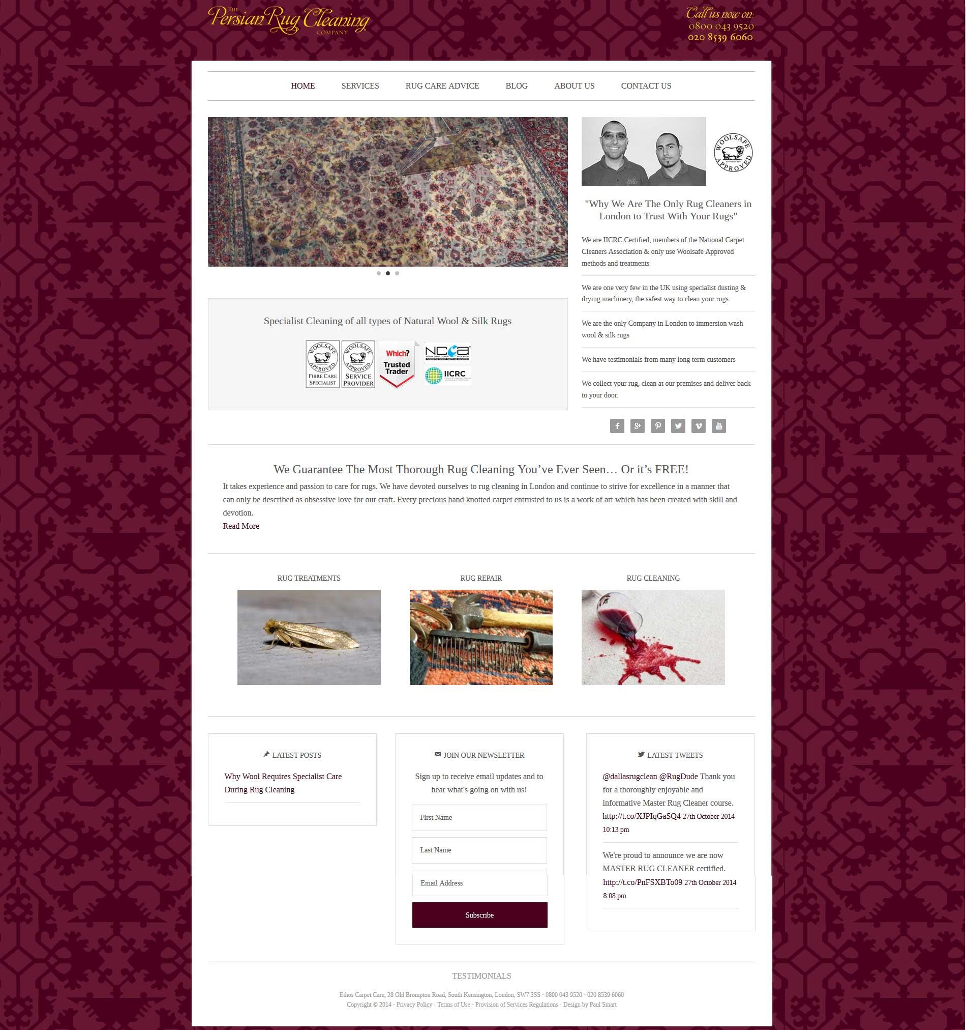 Portfolio Persian Rug Cleaning Homepage