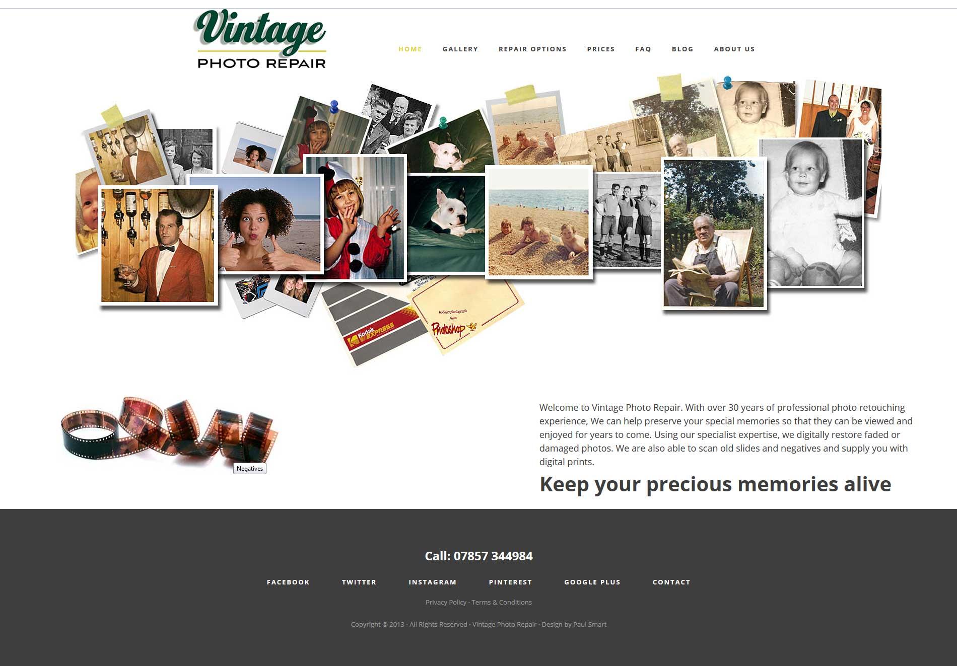 Portfolio Vintage Photo Homepage