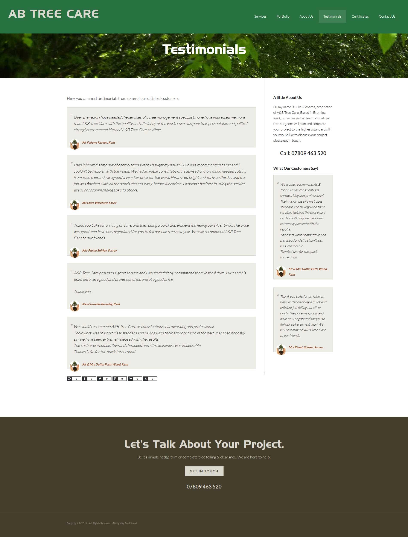 Portfolio AB Tree Care Testimonials